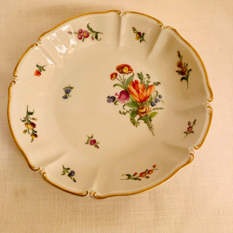 Set of 14 Nymphenburg Soup Bowls Each Painted With a Different Flower Bouquet In Good Condition For Sale In Boston, MA