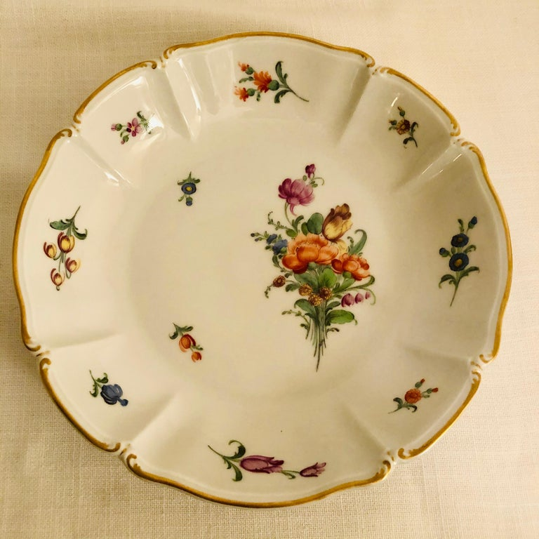 Mid-20th Century Set of 14 Nymphenburg Soup Bowls Each Painted With a Different Flower Bouquet For Sale