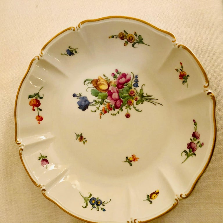 Porcelain Set of 14 Nymphenburg Soup Bowls Each Painted With a Different Flower Bouquet For Sale