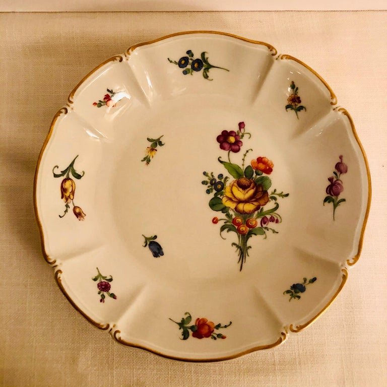Set of 14 Nymphenburg Soup Bowls Each Painted With a Different Flower Bouquet For Sale 1