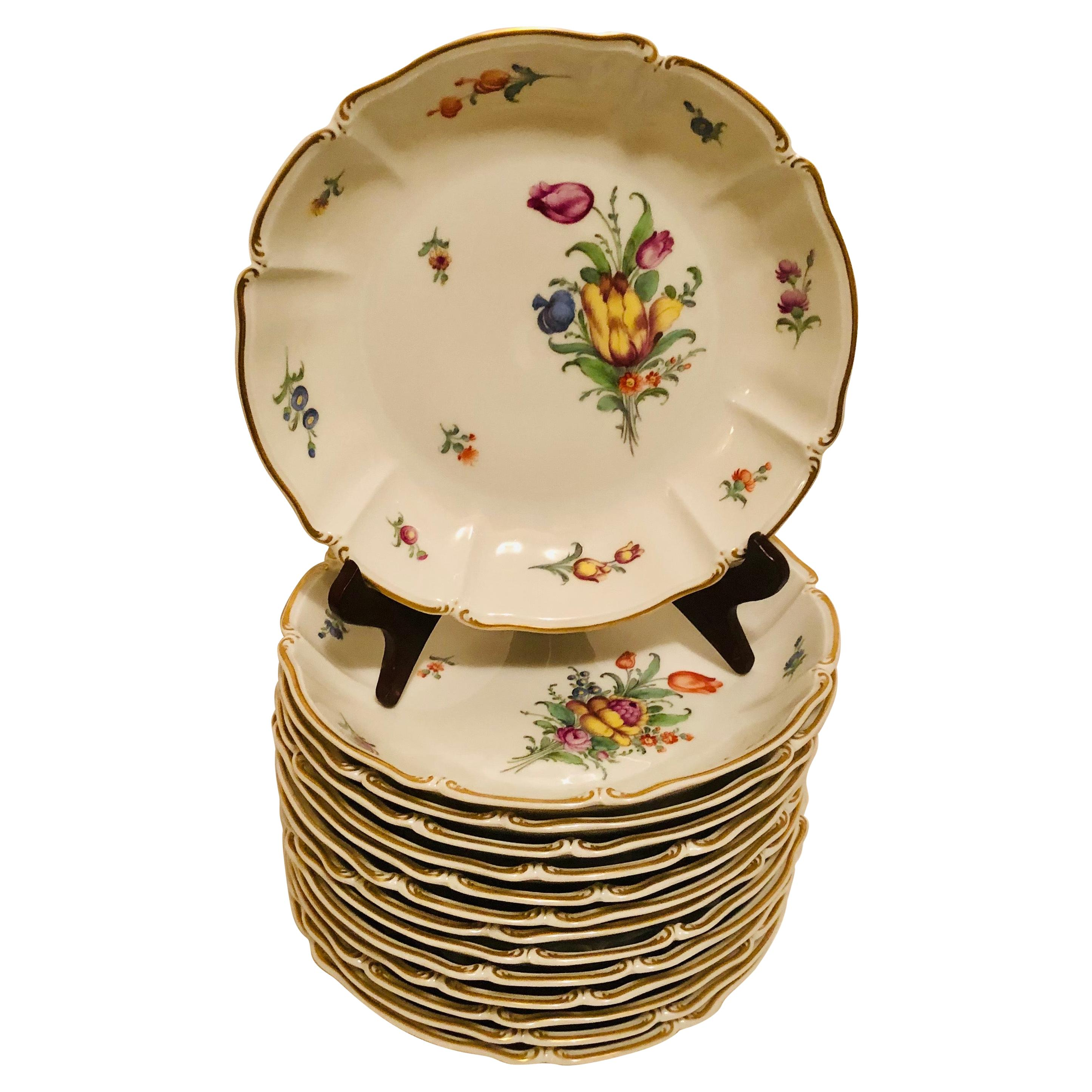 Set of 14 Nymphenburg Soup Bowls Each Painted With a Different Flower Bouquet