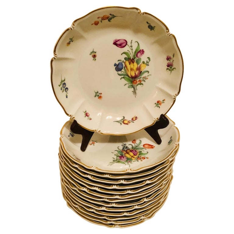 Set of 14 Nymphenburg Soup Bowls Each Painted With a Different Flower Bouquet For Sale