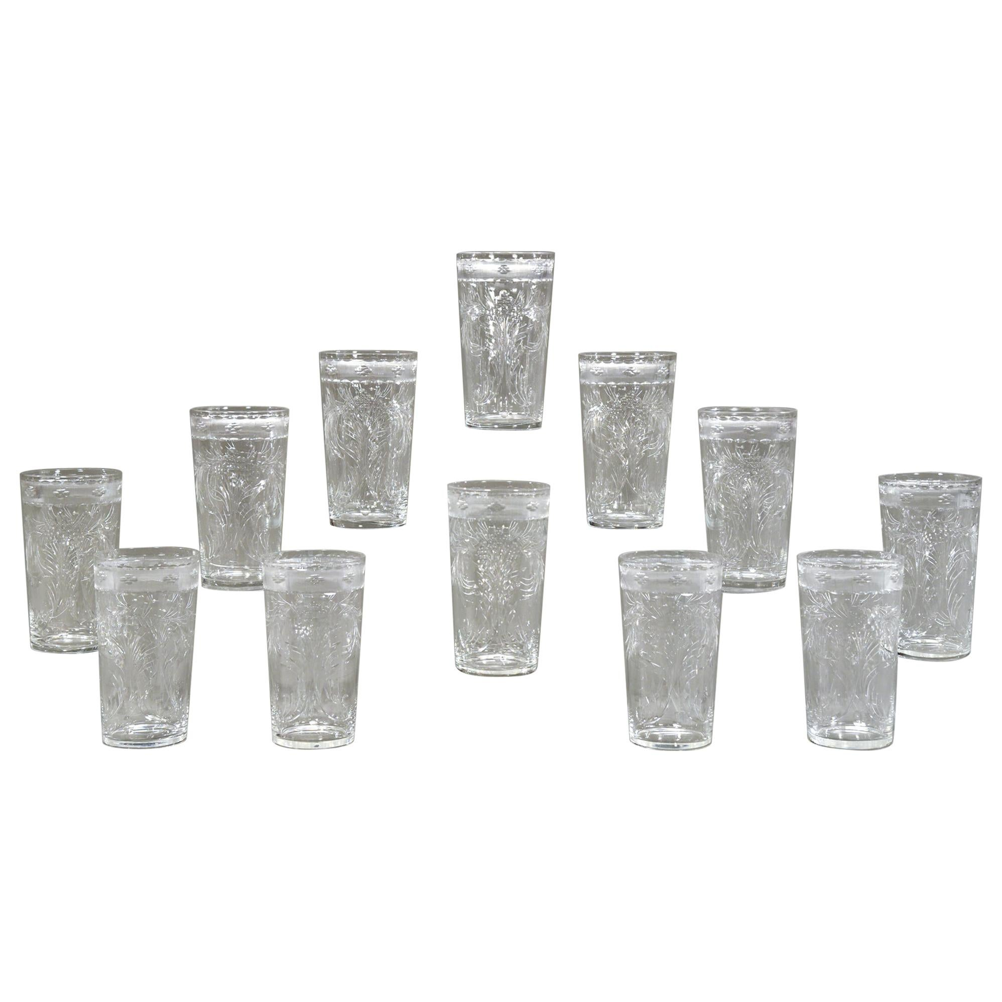 Set of 14 Signed Hawkes Hand Blown Crystal Wheel Cut Engraved Large Tumblers