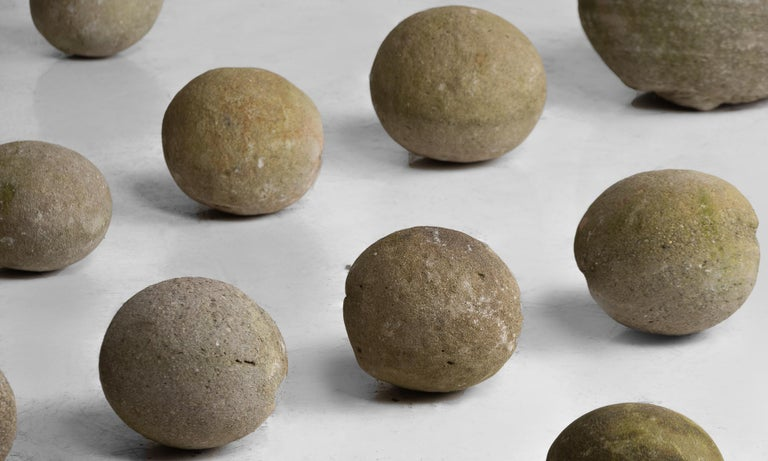 French Set of 14 Stone Balls, France, circa 1840 For Sale