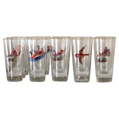 Set of 14 Tall Highball or Water Bar Glasses with Enameled Birds