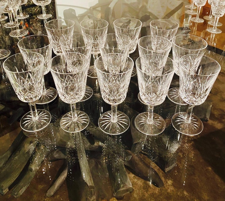 Faceted Set of 14 Vintage Waterford Crystal Lismore Water Goblets, Germany, circa 1990s