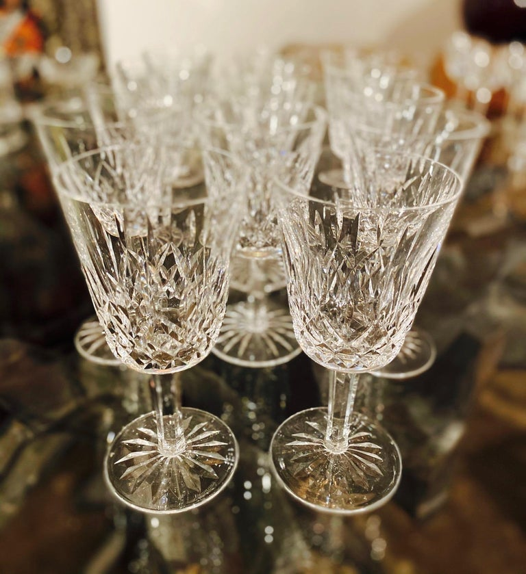 Set of 14 Vintage Waterford Crystal Lismore Water Goblets, Germany, circa 1990s 2