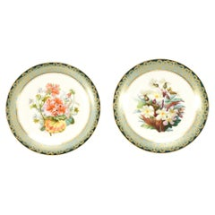 Set of 15 Aesthetic Movement Hand Painted Dessert Plates Plates w/ Botanicals