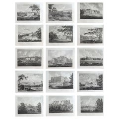 Set of 15 Antique Prints of English Country Houses and Gardens, 1794