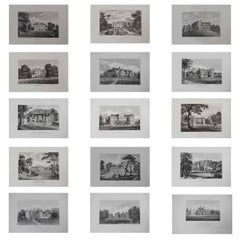 Set of 15 Antique Prints of English Country Houses and Gardens, 1829