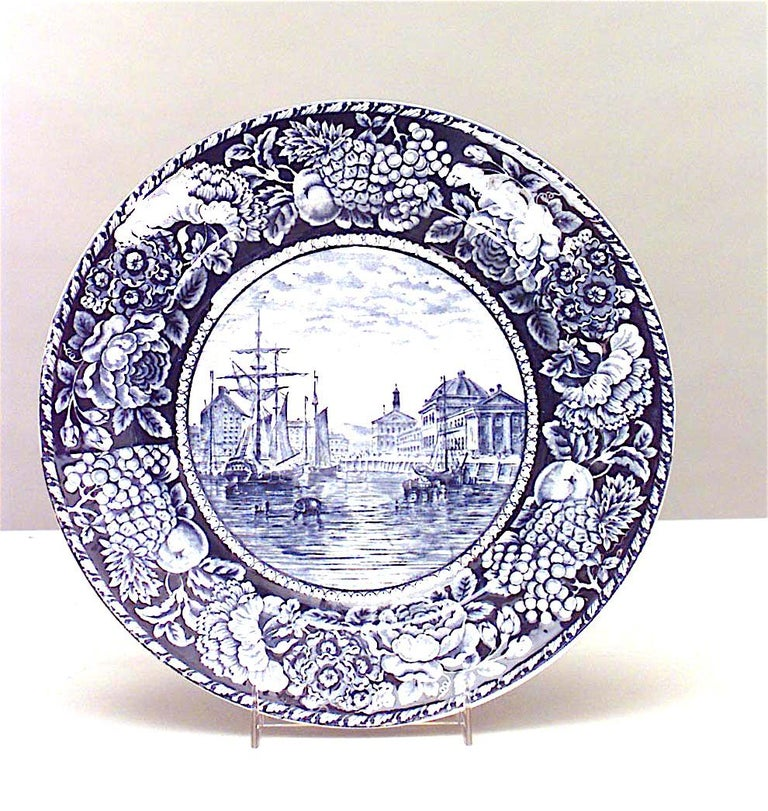 American Set of 15 English Blue and White Porcelain Dinner Plates For Sale