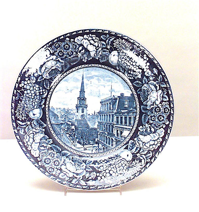 Set of 15 English Blue and White Porcelain Dinner Plates In Good Condition For Sale In New York, NY