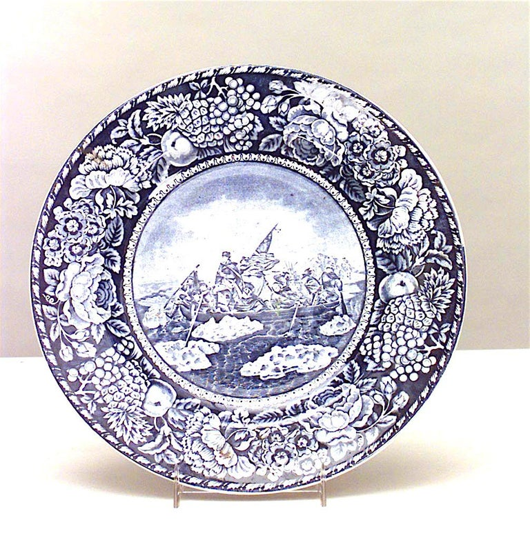 20th Century Set of 15 English Blue and White Porcelain Dinner Plates For Sale