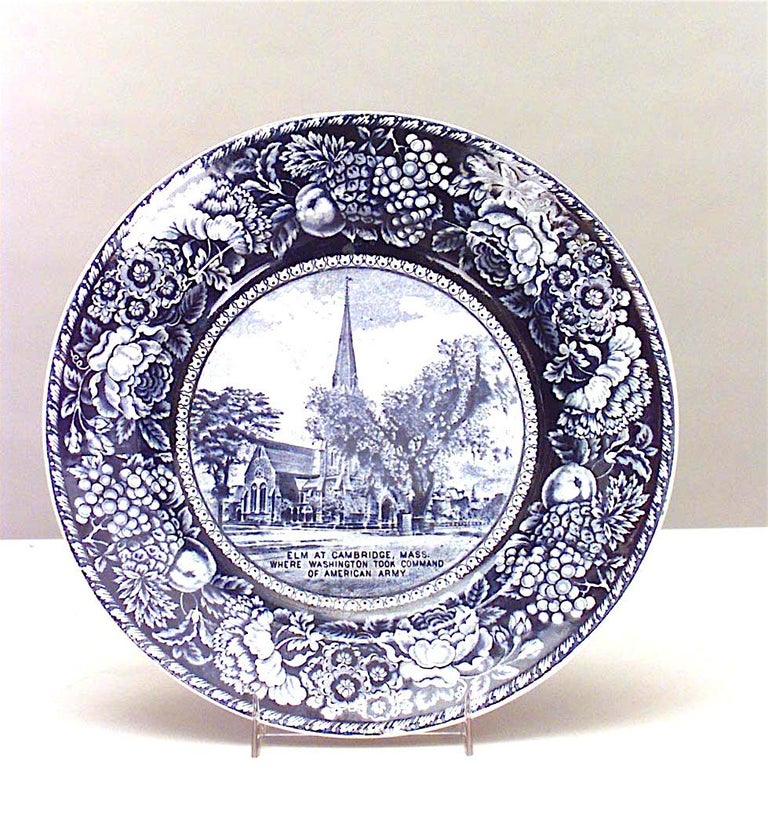 Set of 15 English Blue and White Porcelain Dinner Plates For Sale 1