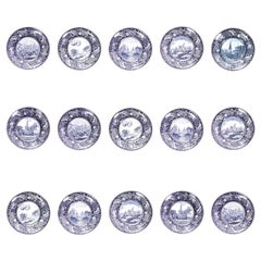 Set of 15 English Blue and White Porcelain Dinner Plates