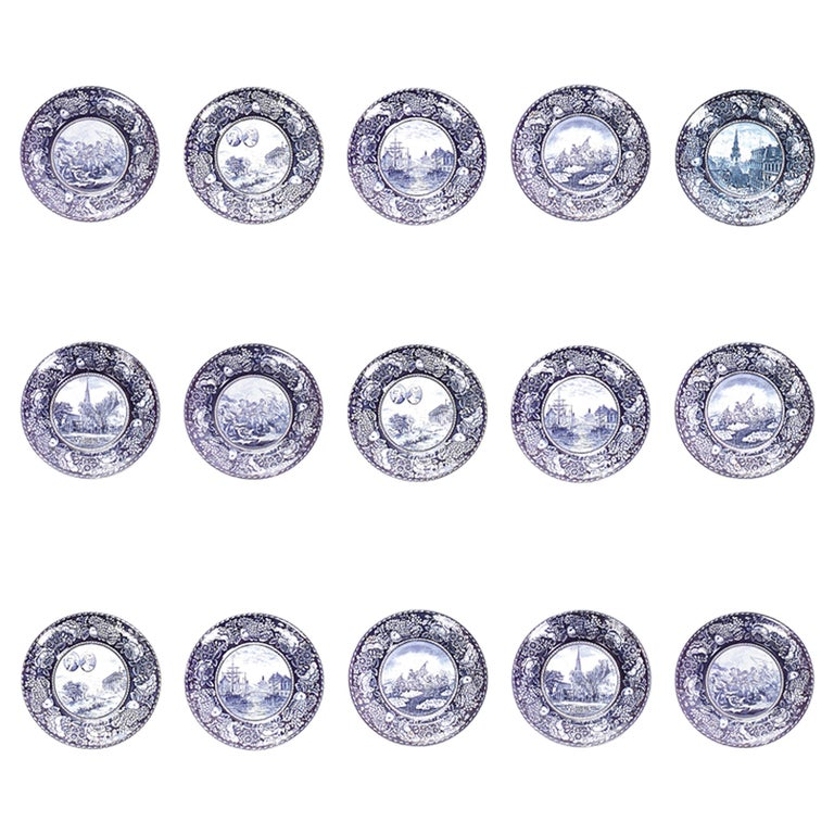 Set of 15 English Blue and White Porcelain Dinner Plates For Sale