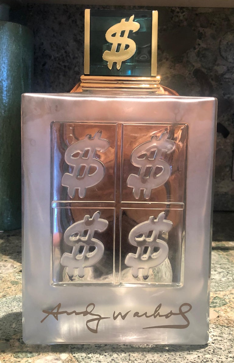 Modern Set of 15 Lalique Style Glass Decanters/ Display Bottles, Signed Andy Warhol For Sale