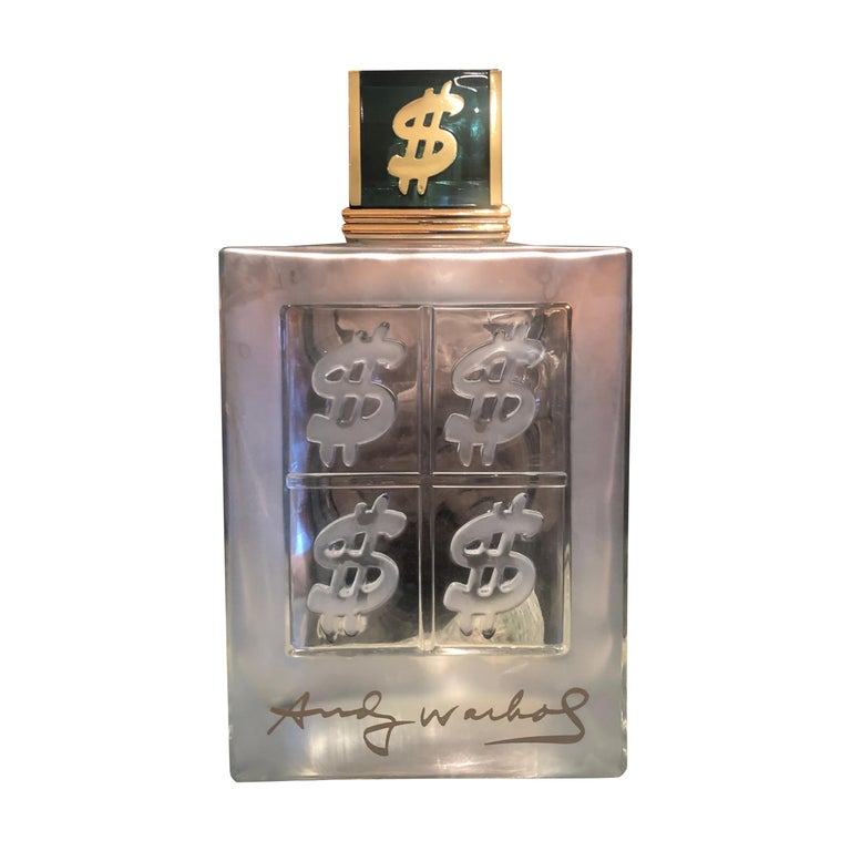 Set of 15 Lalique Style Glass Decanters/ Display Bottles, Signed Andy Warhol For Sale