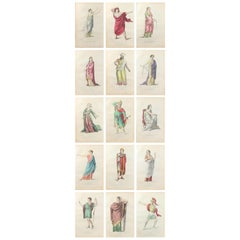 Set of 15 Original Antique Prints of Classical Figures, French, 1876