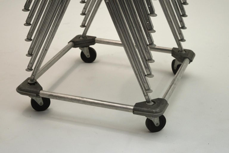Don Albinson 1965 Knoll International Plastic, aluminum Price is for set of 15.  We have 15 available as well 10 regular stacking chair models. (see other listing).  This listing is for the 15 tandem seat models. Please ignore the indication in