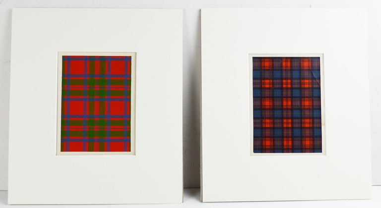 Victorian Set of 16 Antique Prints of Scottish Clan Tartans, circa 1860 For Sale