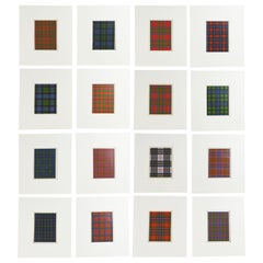 Set of 16 Antique Prints of Scottish Clan Tartans, circa 1860