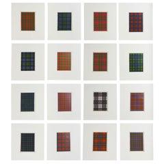 Set of 16 Antique Prints of Scottish Clan Tartans, circa 1860