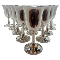 """Set of 16 Estate American """"Wallace Silversmiths"""" Sterling Silver Goblets, 1940's"""