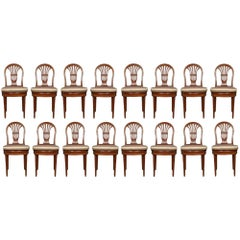 Set of 16 French 19th Century Louis XVI St. Solid Mahogany Dining Chairs