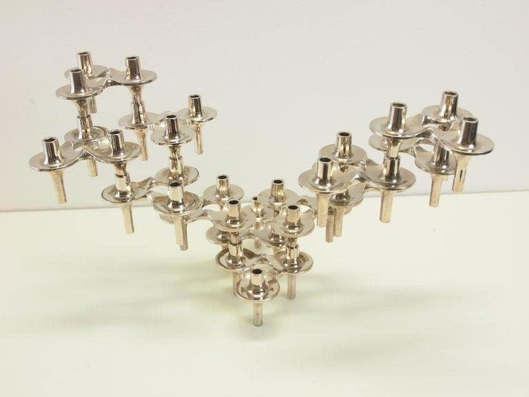 Metal Set of 16 Midcentury Chrome