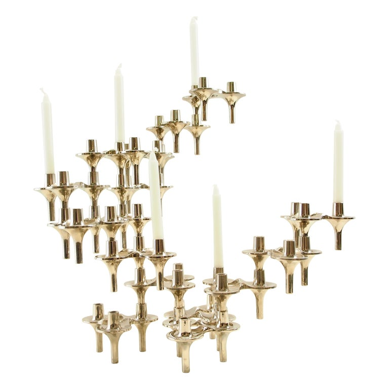 """Set of 16 Midcentury Chrome """"Orion"""" Candleholders by Nagel & Stoffi for BMF For Sale"""