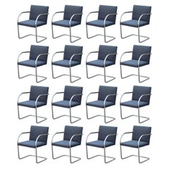 Set of 16 Mies Van Der Rohe for Knoll Tubular Chrome Brno Dining Chairs