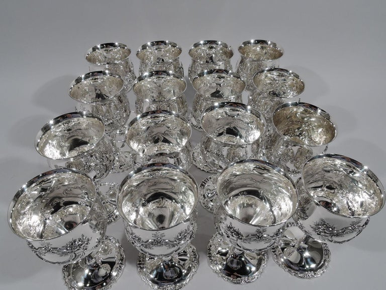 Renaissance Revival Set of 16 Reed & Barton Sterling Silver Goblets in Francis I Pattern For Sale