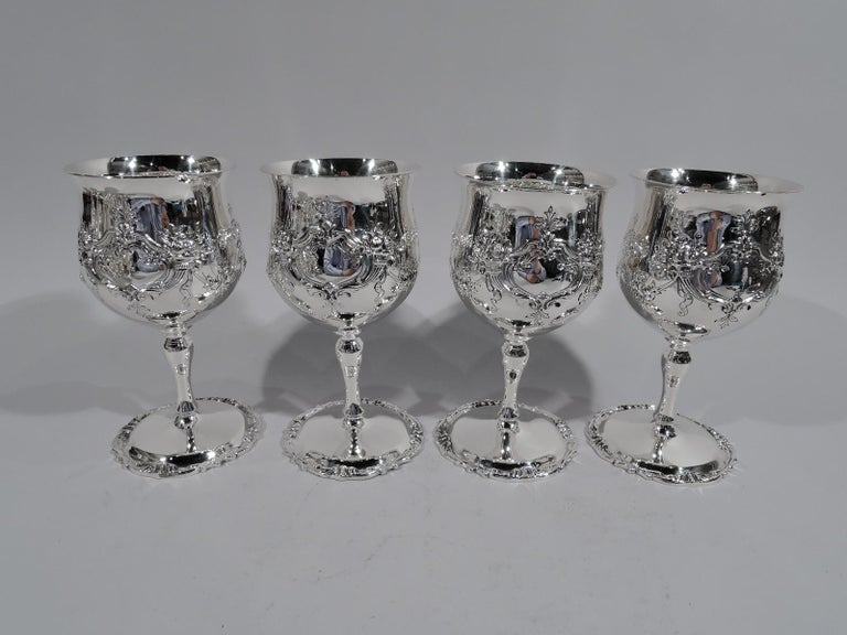 American Set of 16 Reed & Barton Sterling Silver Goblets in Francis I Pattern For Sale