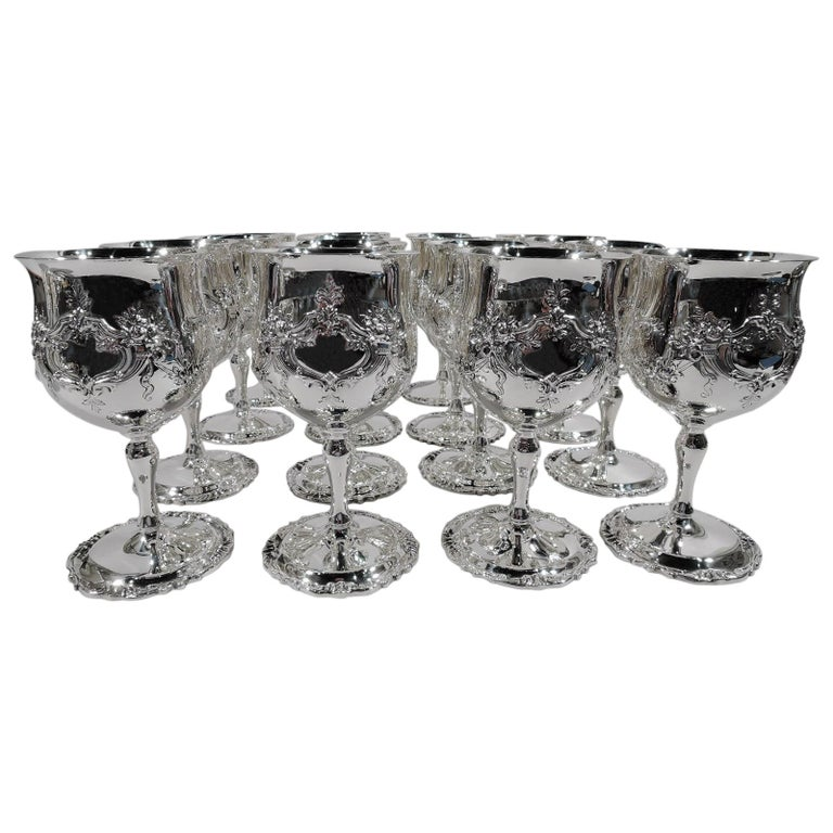 Set of 16 Reed & Barton Sterling Silver Goblets in Francis I Pattern For Sale