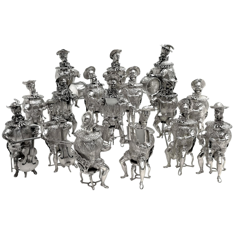 Set of 16 Solid Silver Musician Models Table Figures Hanau Germany, circa 1900