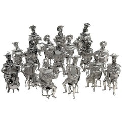Set of 16 Solid Silver Musician Models Table Figures Hanau Germany, circa 1900