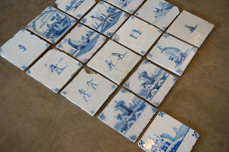 Late 17th Century Set of 17 French Tiles, circa 1680 For Sale