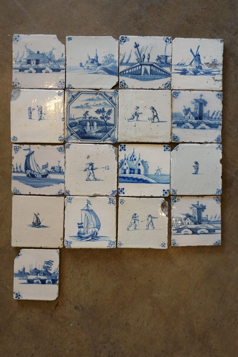 Ceramic Set of 17 French Tiles, circa 1680 For Sale