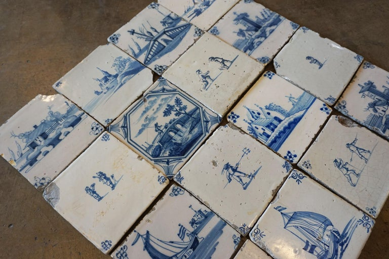 Set of 17 French Tiles, circa 1680 For Sale 1