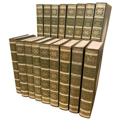 """Set of 17 Green Leather and Gilt French Books """"Les Femmes Celebres"""" Dated 1971"""