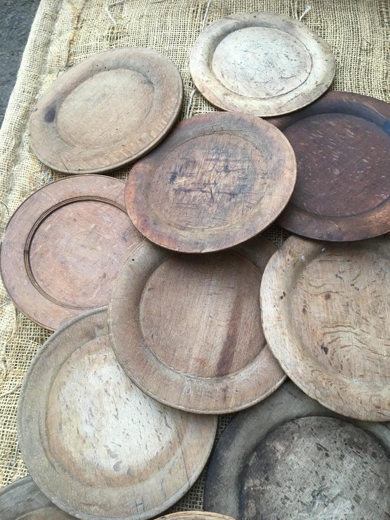 Swedish Wooden Folk Art Dinner Plates or Trays For Sale 4