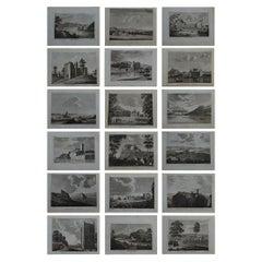 Set of 18 Antique Prints of Scottish Castles, circa 1770