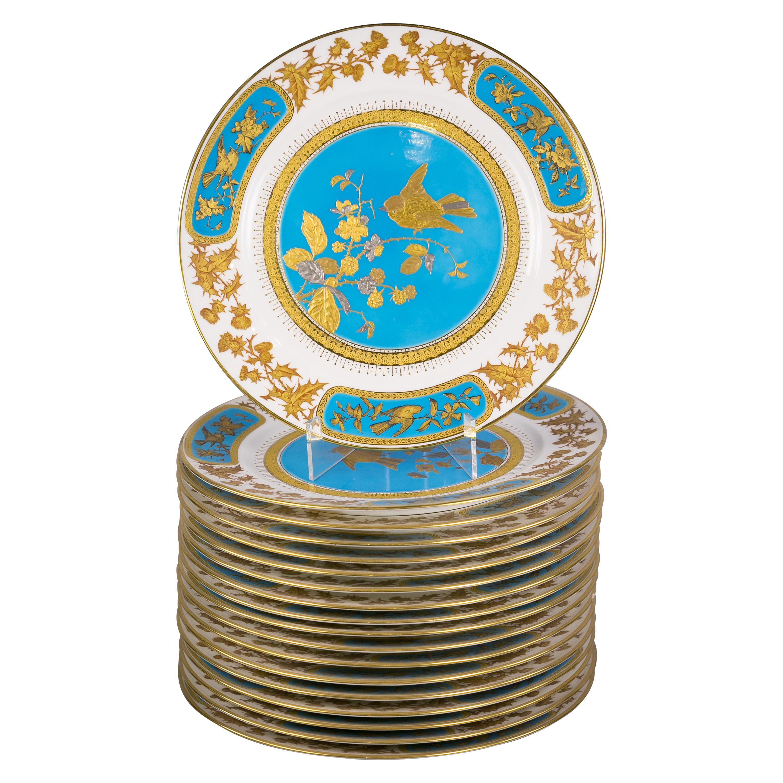 Set of 18 English Porcelain Aesthetic Movement Cabinet Plates, circa 1880