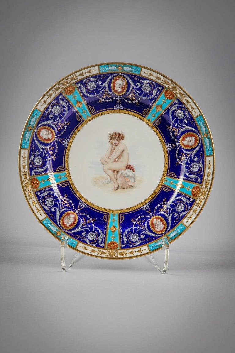 Late 19th Century Set of 18 English Porcelain Plates, Minton, circa 1880 For Sale