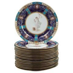 Set of 18 English Porcelain Plates, Minton, circa 1880