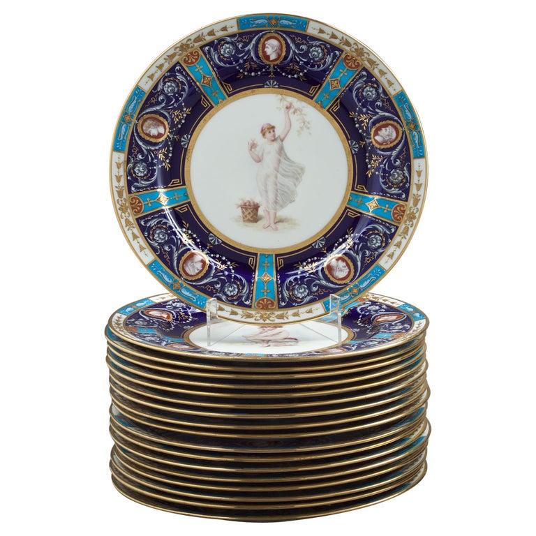 Set of 18 English Porcelain Plates, Minton, circa 1880 For Sale