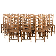 Set of 18 Fruitwood Dining Chairs