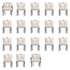 Set of 18 Paul Frankl Corset Back Dining Chairs in Ivory White Bouclé, c. 1950s