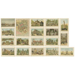 Set of 18 Prints with Views of Amsterdam and Dutch Colonies, 1883